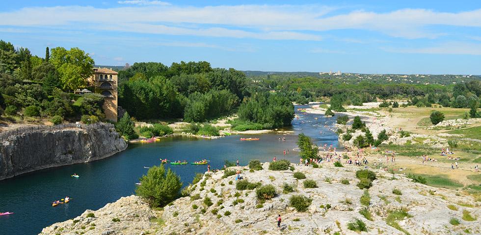 Fluss Gard beim Pont du Gard