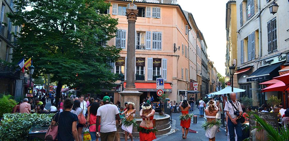 Aix-en-Provence Platz Place Brunnen